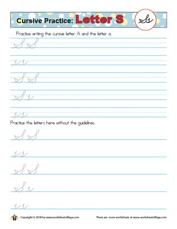 A worksheet to practice cursive writing